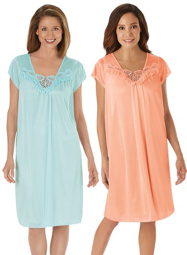 2-Pack Short Sleeve Tricot Nightgowns 1bf694e7d