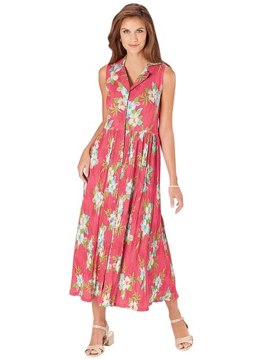 Button-Front Tropical Dress