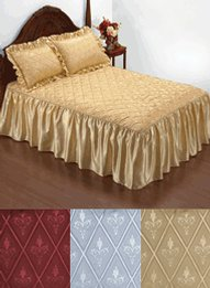 Quilt Top Satin Ruffle Bedspread With Free Sham