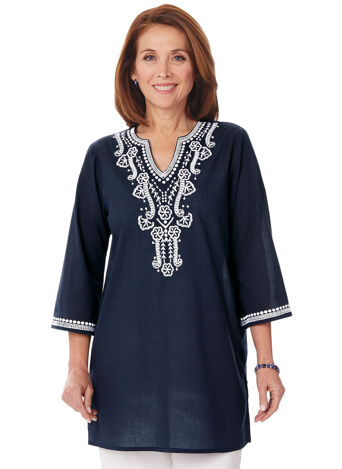 100% Cotton Embroidered Blouse| - Women's Sizes - 64049