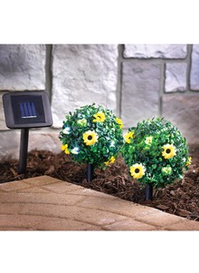 Set of 2 Solar Bay Trees with Flowers