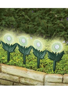 Set of 4 Glow-in-the-Dark Spinning Garden Flower Sticks