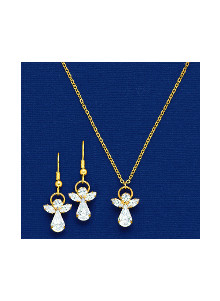Crystal Angel Pendant and Earrings Set