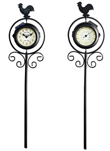 Solar Clock and Thermometer w/ Stake