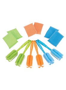 Set of 6 Scrubbing Brushes and 6 Sponges