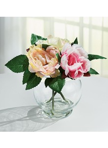 Silk flowers with glass vase carolwrightgifts silk flowers with glass vase mightylinksfo