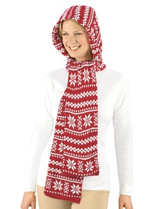 Two-in-One Snowflake Hooded Scarf