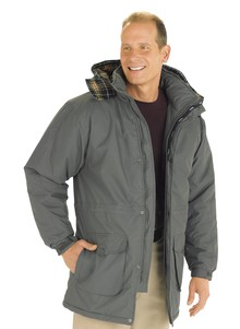 Men's Plaid Microfiber Parka