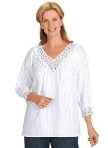 100 Cotton Lace Trimmed Blouse Carolwrightgifts Com
