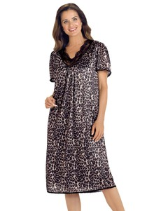 Silky Lace-Trimmed Nightgown