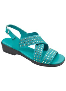 Studded Stretch-Strap Sandal