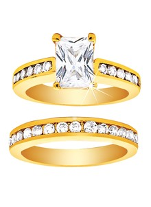 Emerald-Cut CZ Wedding Ring Set
