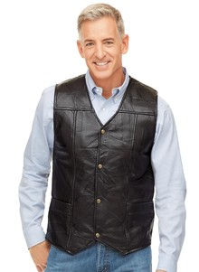 Genuine Leather Patchwork Vest