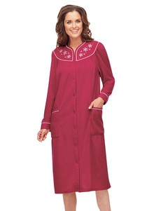 Embroidered Fleece Robe