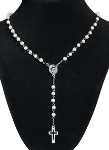 Stainless Steel Pearl Rosary
