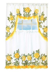 Floral Applique Kitchen Curtain Set