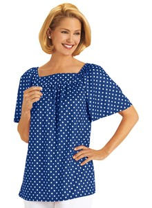 Square-Neck Dot Top