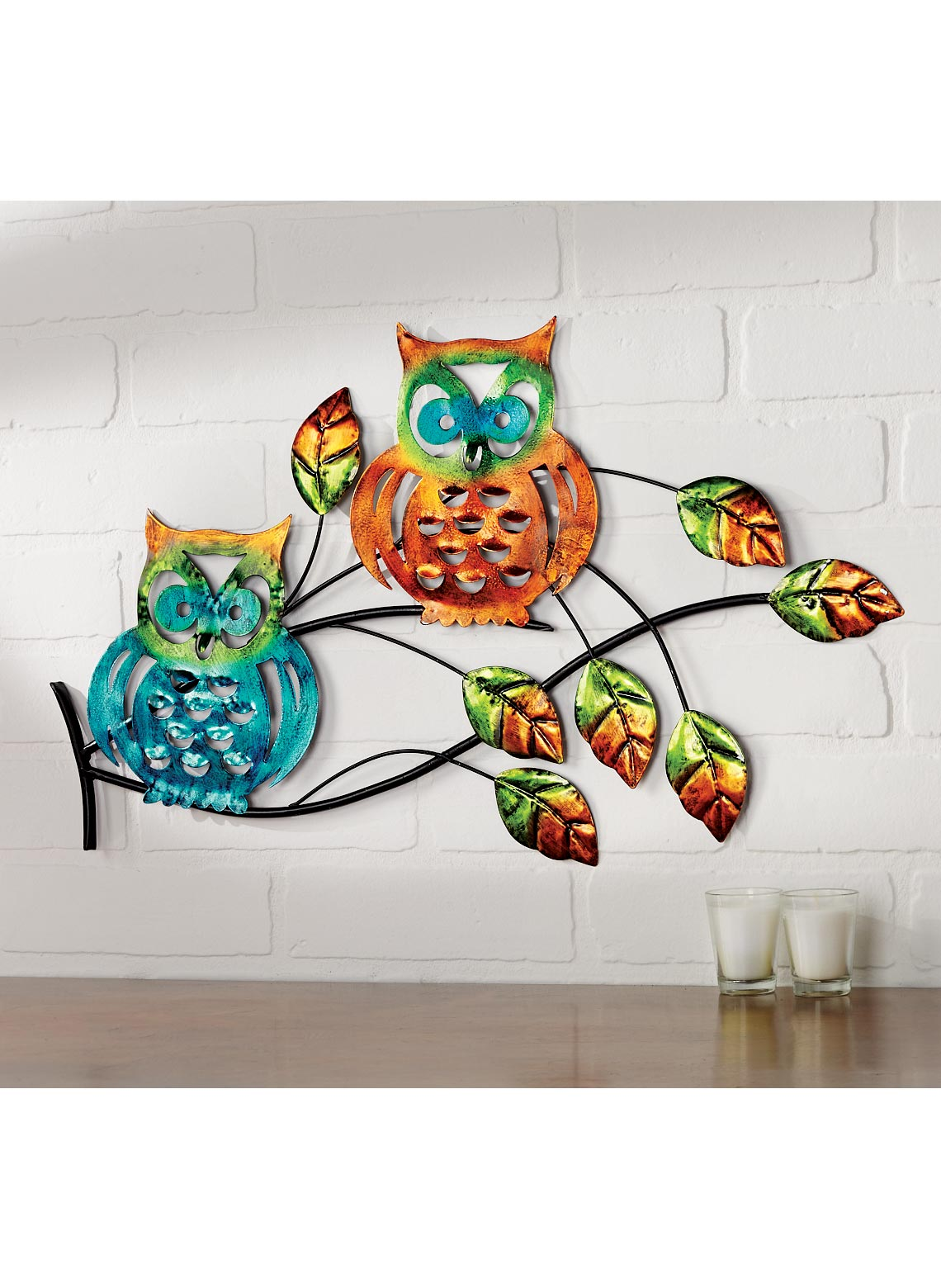 owl metal wall art. Black Bedroom Furniture Sets. Home Design Ideas