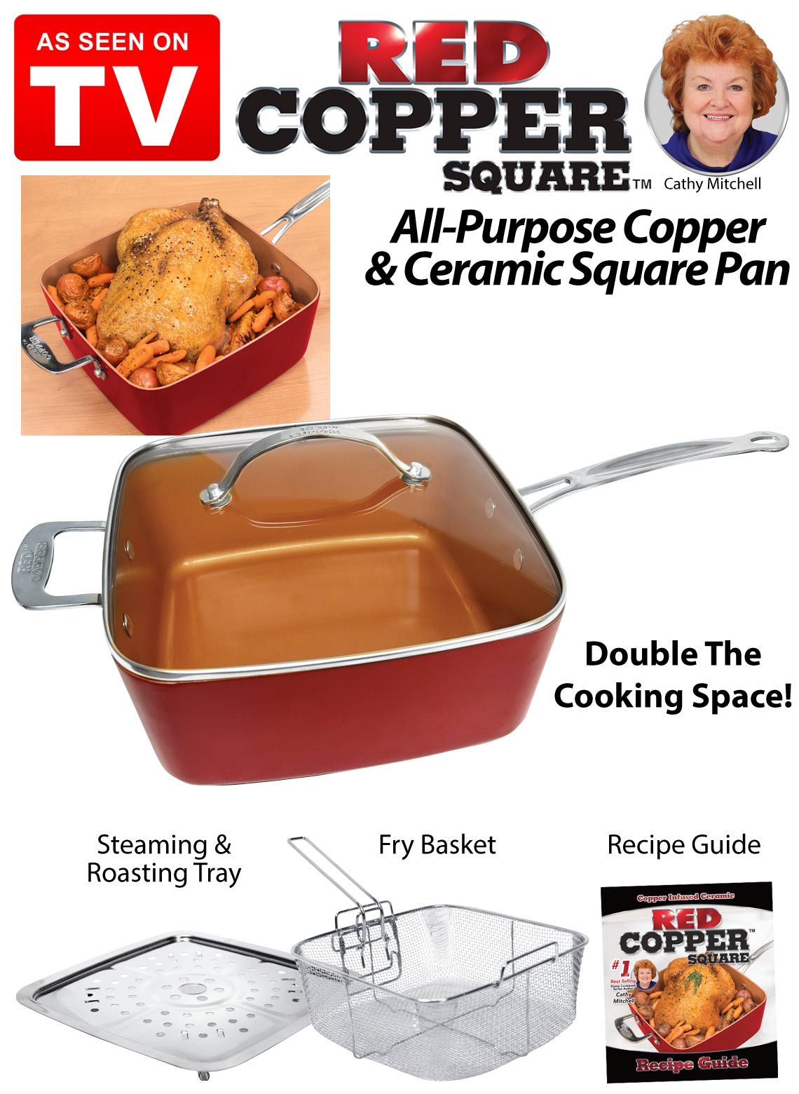Red Copper Five Piece Cookware Set As Seen On Tv