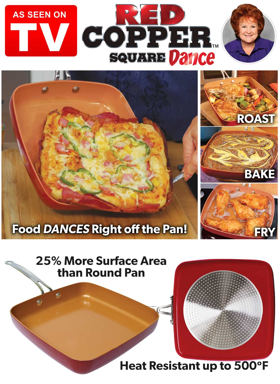 Red Copper Square Dance Pan Carolwrightgifts Com
