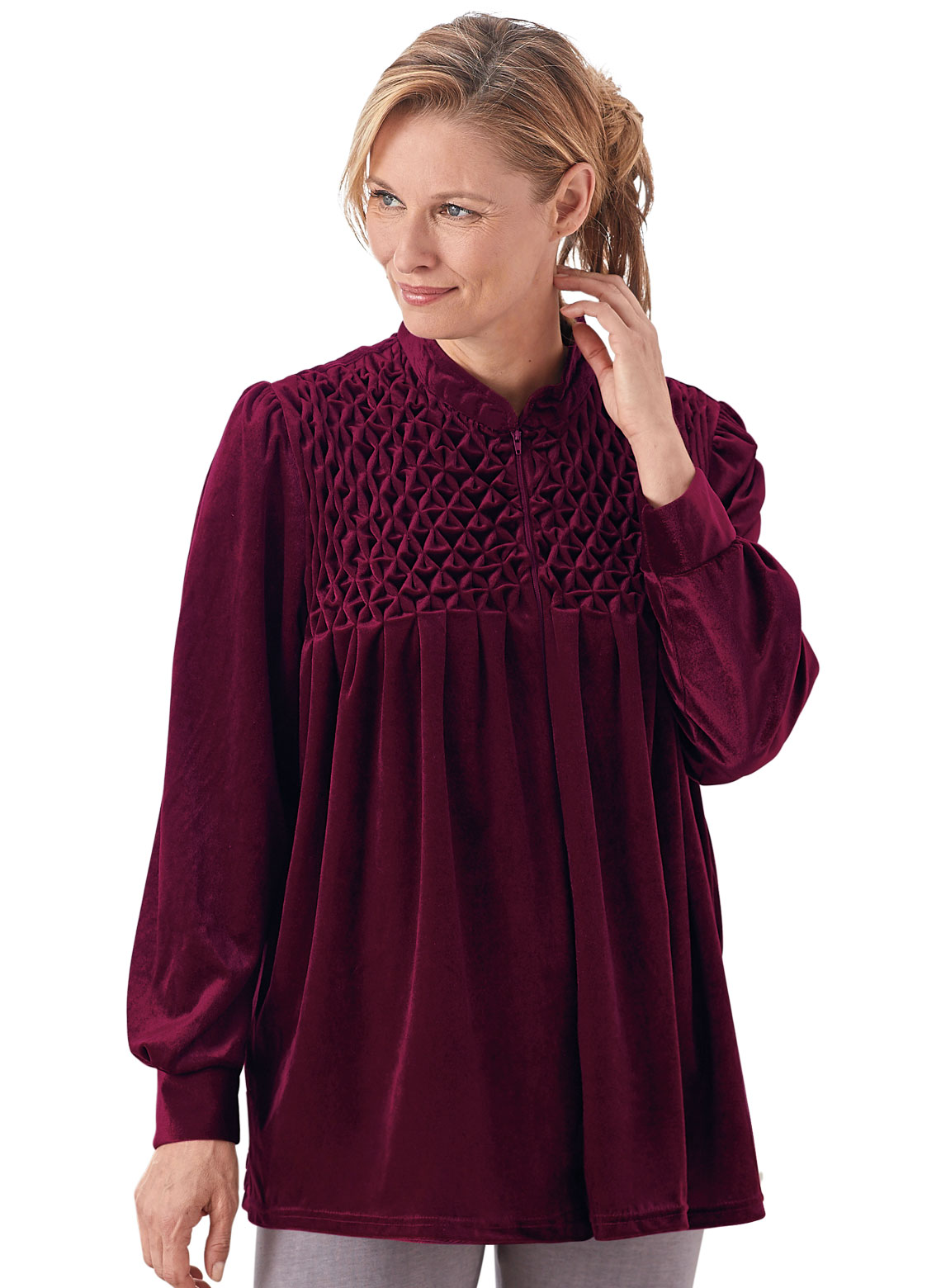 Zip Front Velour Bed Jacket Carolwrightgifts Com