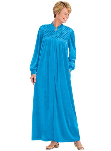 c9252a7552 Zip-Front Velour Robe